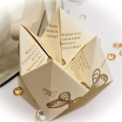 This is such a fun idea! old fashioned chatter boxes for wedding favours, with questions like where did the couple  meet, where he proposed, etc. :)
