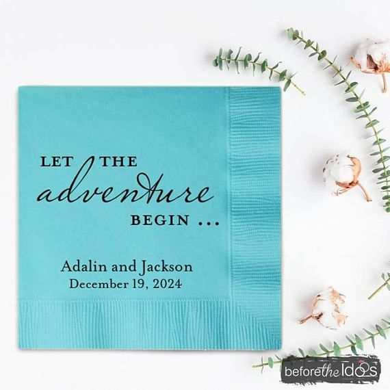 Personalized Napkins Wedding Party Tail