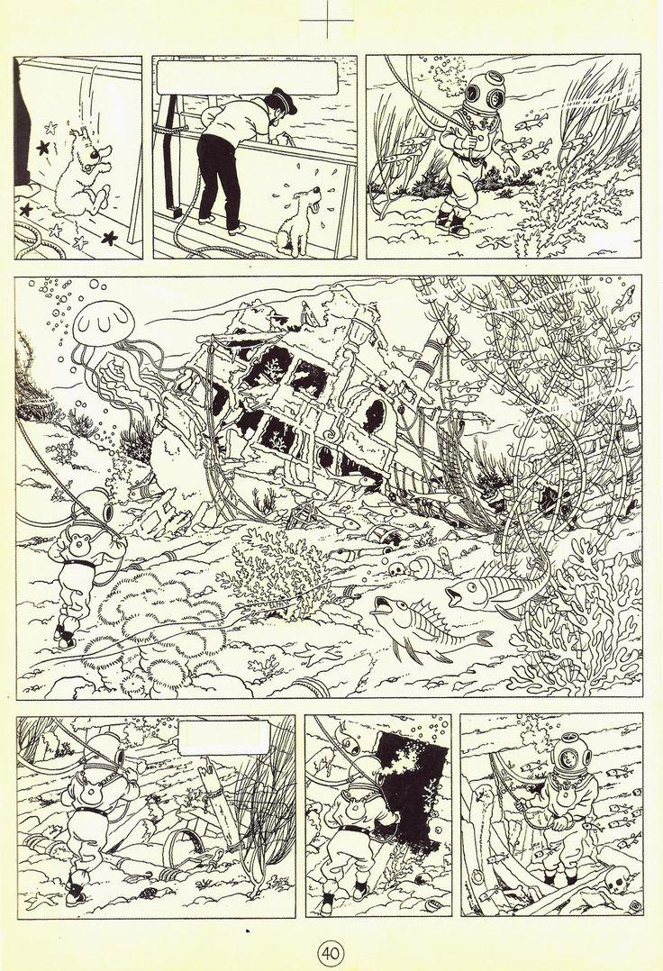 """Hergé - 1944 """"Le Trésor de Rackham le Rouge"""" - Page 40 Indian ink, watercolor and gouache on drawing paper - 333 x 458 mm Foundation Hergé Collection"""