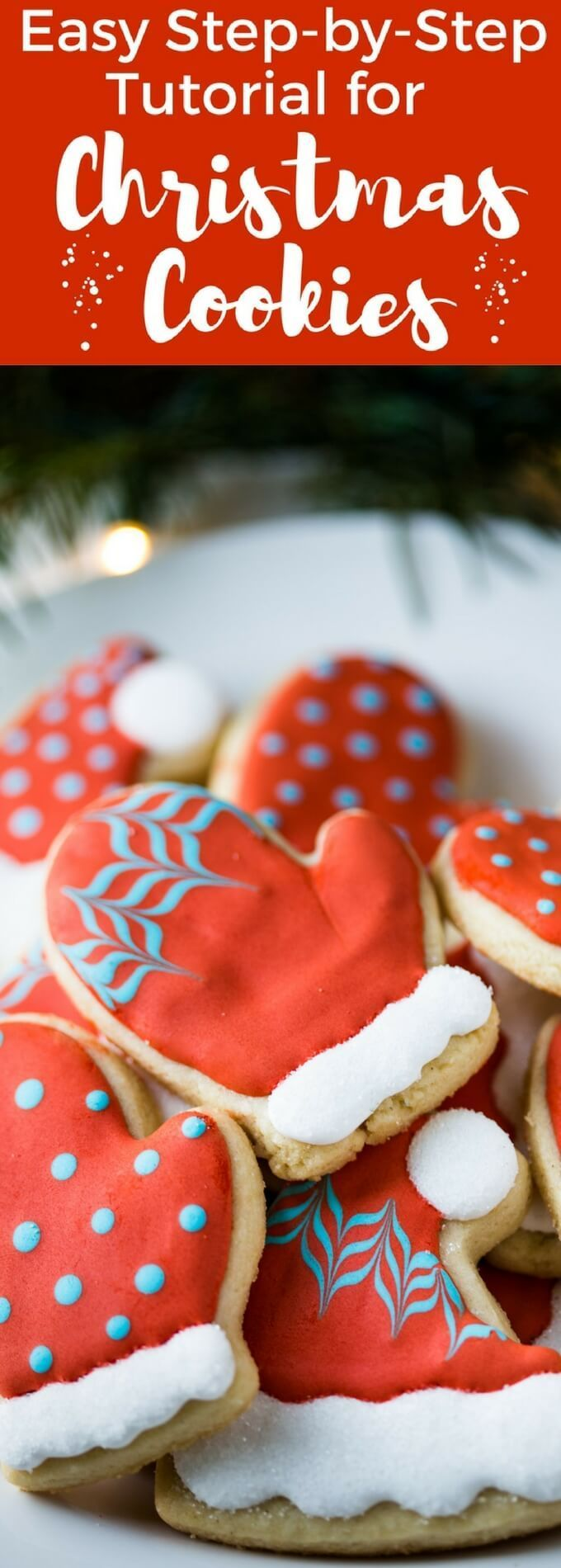 An easy Christmas Cookie Decorating Tutorial for Hat and Mitten Cookies with step by step photos so that you can make them with my Royal Icing recipe. With a gluten free cut out cookie recipe in the post