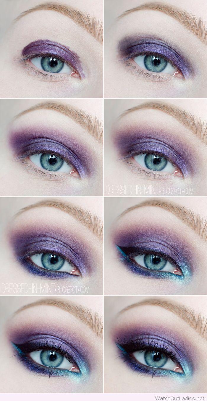 Purple and blue eye makeup tutorial