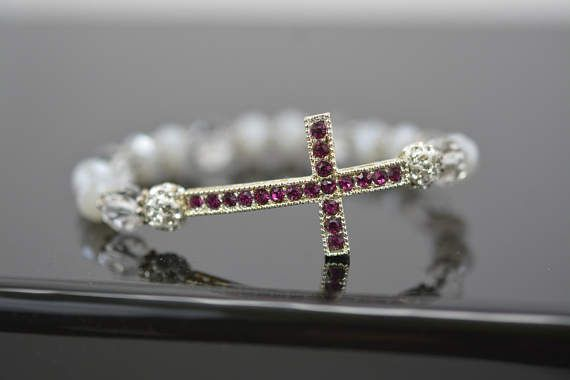 Pink Rhinestone Cross Bracelet Stacking Cross Bracelet