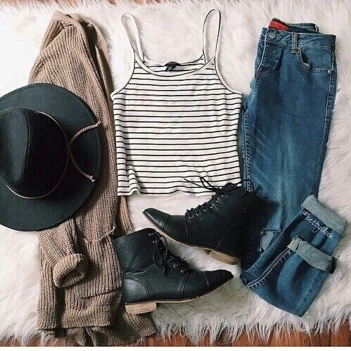 Hipster outfit black hat cuffed boyfriend jeans bf ankle boots striped shirt cardigan