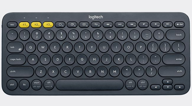 Products we like / Keyboard / Black / Yellow Details / at Logitech K380