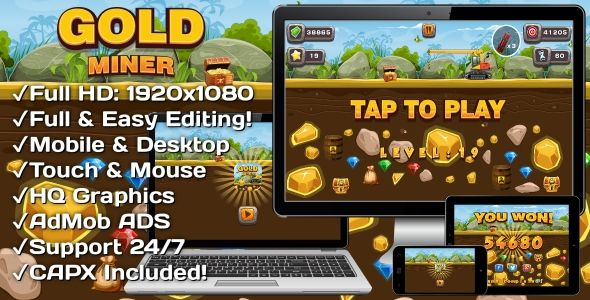Gold Miner - HTML5 Game + Mobile Version! (Construct-2 CAPX)