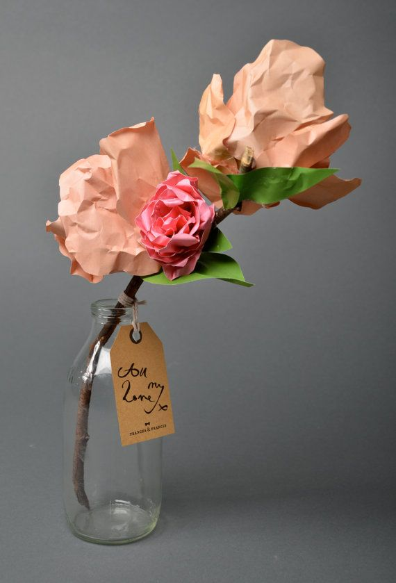 Rosetta consists of three flowers, two coral peonies and a pink rose. She comes complete with a hand calligraphy written tag and in the example
