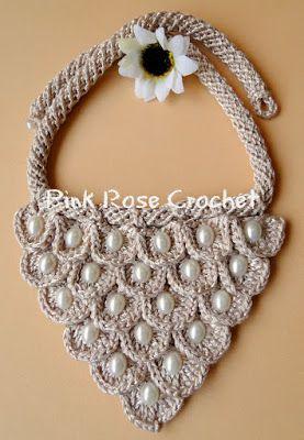 Pink Rose Crochet: Maxi Colar Bege Rosé com Ponto Crocodilo