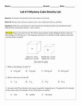 Density Calculations Worksheet Answer Key Inspirational ...