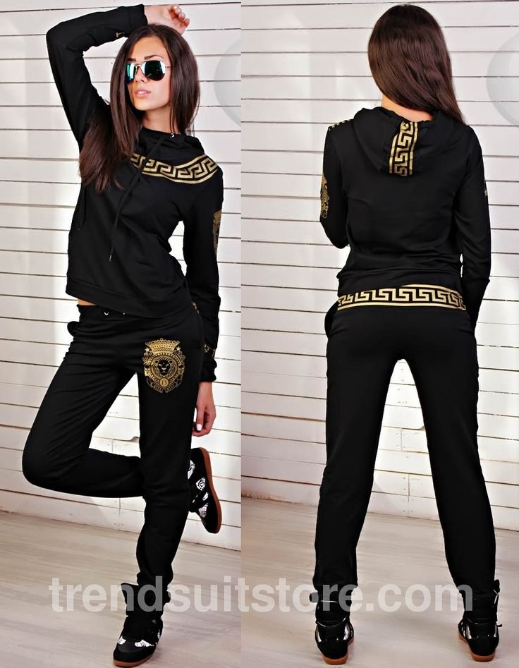 Article CDF0096 #hood #tracksuit Order of this product only by wholesale catalog at our website. Stylish womens hooded black tracksuit.