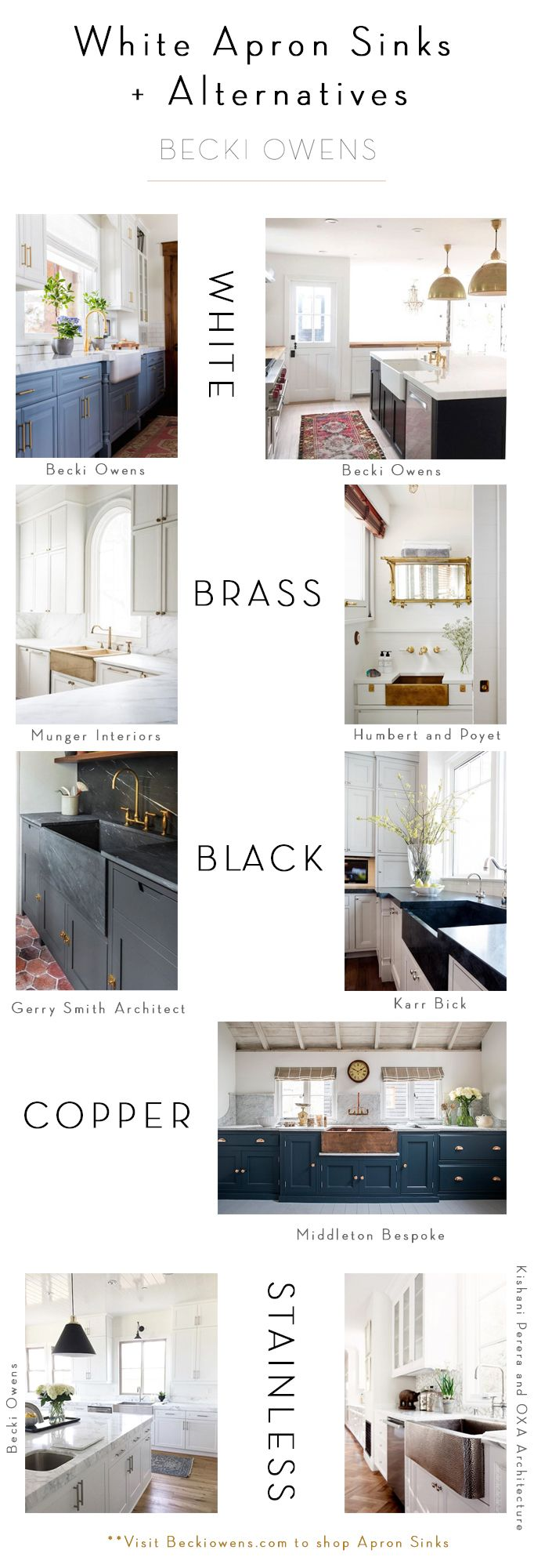 If you are updating your kitchen, you could go with classic white, or consider these white apron sink alternatives in black, brass, copper, and stainless.