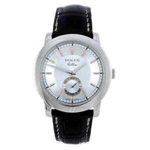 LOT:341 | ROLEX - a gentleman's platinum Cellini wrist watch.