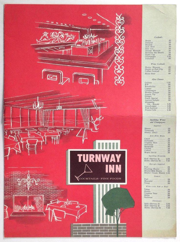 1962 Vintage Huge Menu TURNWAY INN Cocktails Fine Food