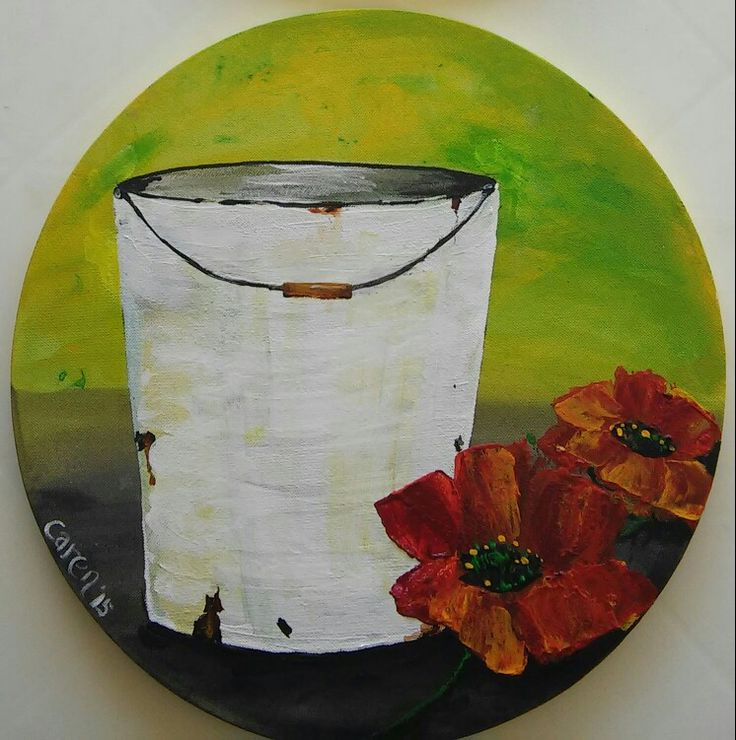Enamel bucket and poppies.oils.sold
