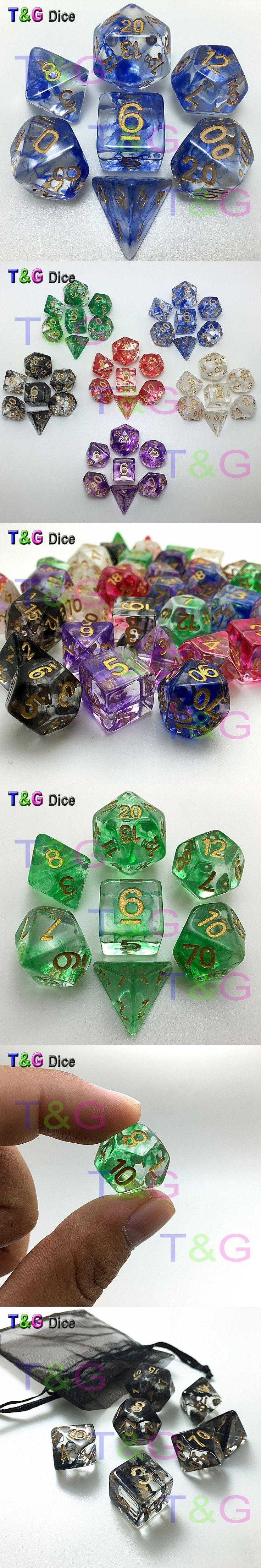 Brand New Dice Polyhedral Nebula Blue w White Set of 7 for D&d Game plus POUCH BAG d4 d6 d8 d10 d12 d20 dice set Gift Toy