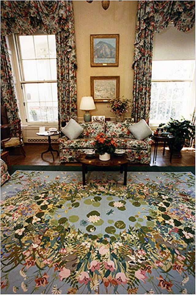This is a needlepoint rug embroidered by Barbara Bush in the 1970s. Mrs. Bush brought the rug when she moved into the White House and it was installed in the family's living quarters.   Image courtesy of the George Bush Presidential Library and Museum at https://www.georgewbushlibrary.smu.edu/