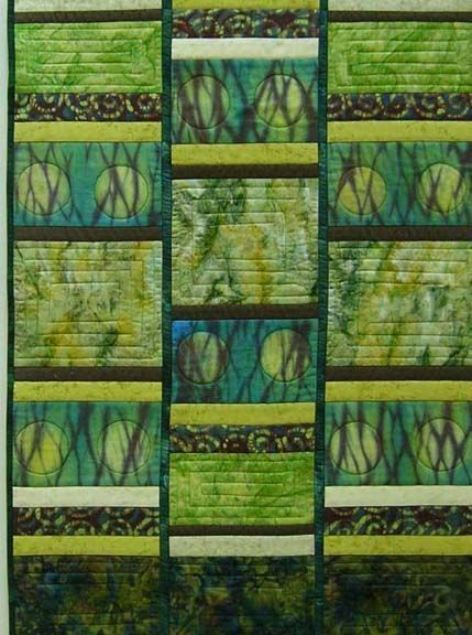 "Orbits Interrupted, 35 x 23"", art quilt by Rhoda Taylor. Hand dyed & commercial fabric. 2011 juried art exhibit, Southwestern Pennsylvania Council for the Arts."