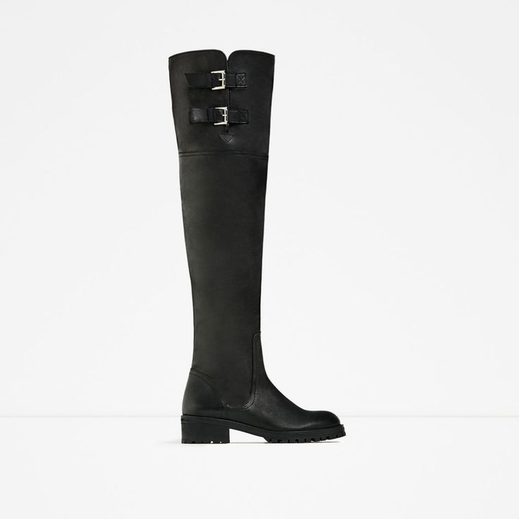 ZARA - WOMAN - OVER-THE-KNEE FLAT LEATHER BOOTS