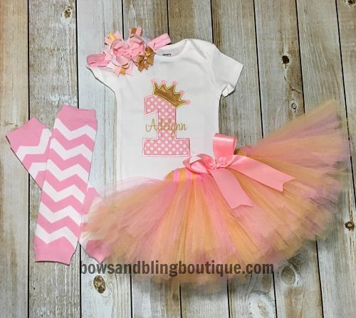 Shirt and tutu only! I just love this cute pink and gold first birthday tutu outfit! Your little one will look absolutely precious in this! The personalized shirt is embroidered with an embroidery mac