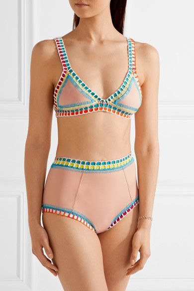 Kiini - Luna Crochet-trimmed High-rise Bikini Briefs - Beige - large