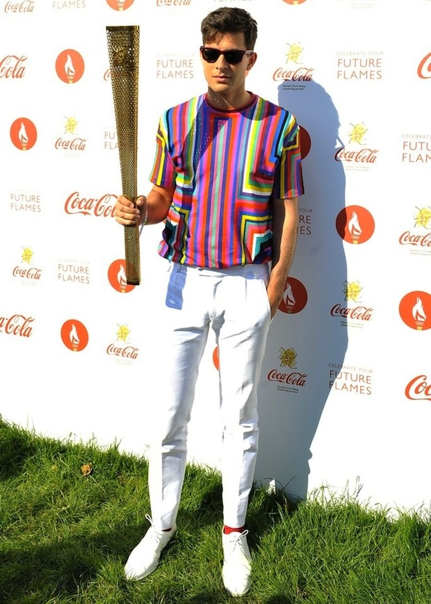 Torch Song / Mark Ronson in Jil Sander T-Shirt, Olympic Torch Relay Coca Cola Concert, London (2012)