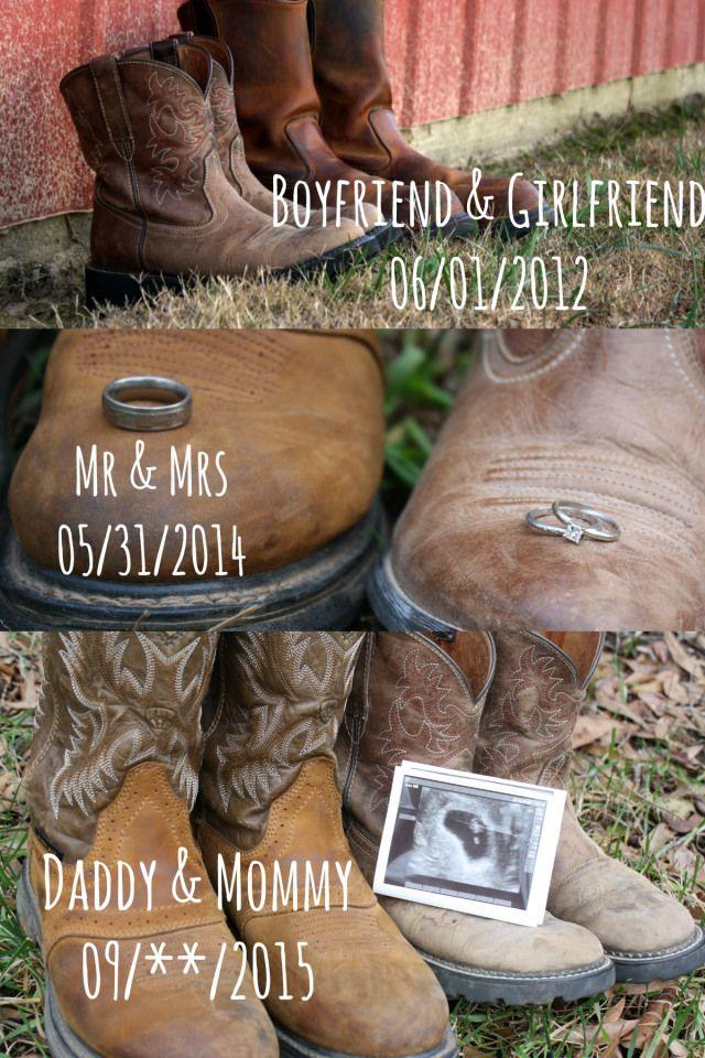 What a cute pregnancy announcement!! Loving the cowboy boots.
