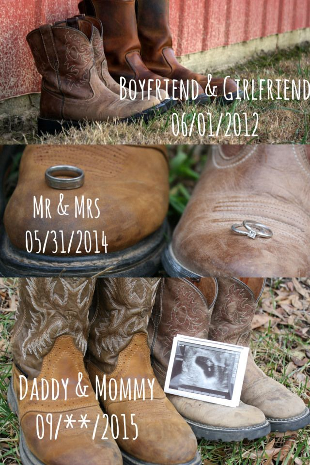 What a cute pregnancy announcement!! Loving the cowboy boots.