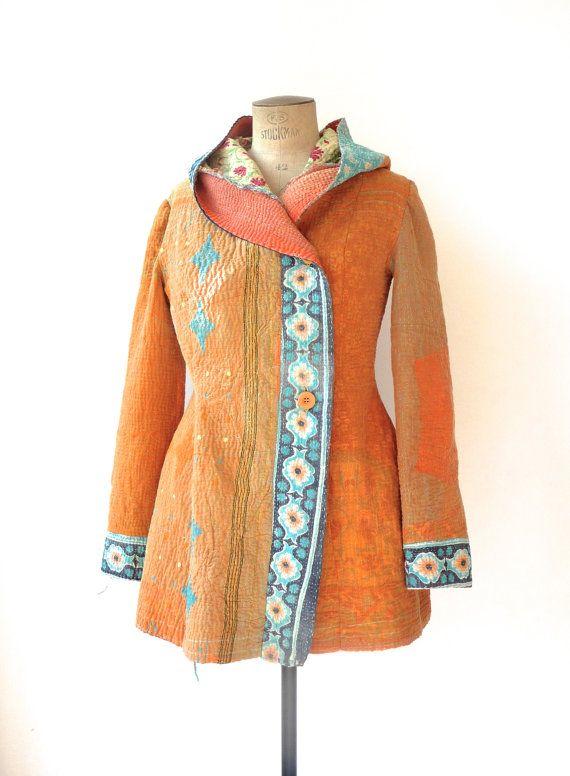 kantha quilt jacket - hooded, fuzzy, reversible kantha coat - size medium