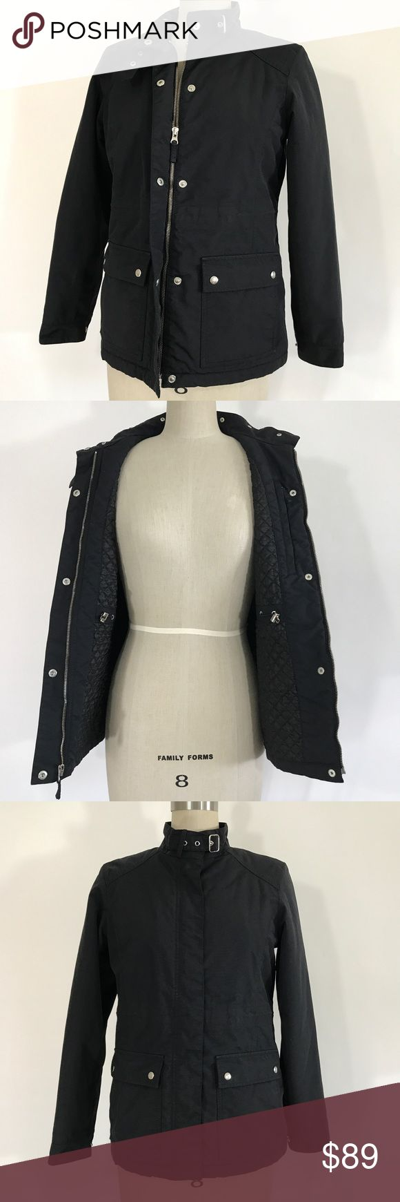 LANDS' END utility jacket size XS 4-6 Lands end black utility jacket size XS  Ⓜ️size XS (great in size 4-6) Ⓜ️shoulder 15 Ⓜ️Bust 38 Ⓜ️Waist 36 (hidden inside drawstring)  Ⓜ️Length 26 Ⓜ️Sleeves 24  New no tags, black utility jacket, quilted inside, inside ajustable Waist drawstring, inside zip up pocket, button and zip up front, button up neck with buckle, button up sleeves, 2 outside pockets, Retail average $199  🚫No Trading 🙅🏻 ✅Bundle and save  ✅🚭 ❗️Poshmark rules only‼️ Lands' End…