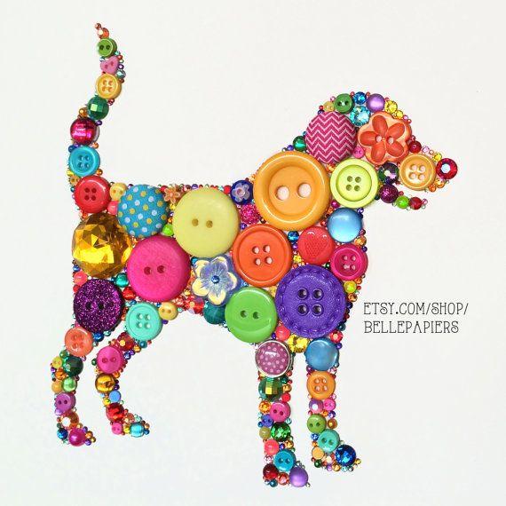 8x10 Choose your own color/s Dog Art Button Art by BellePapiers