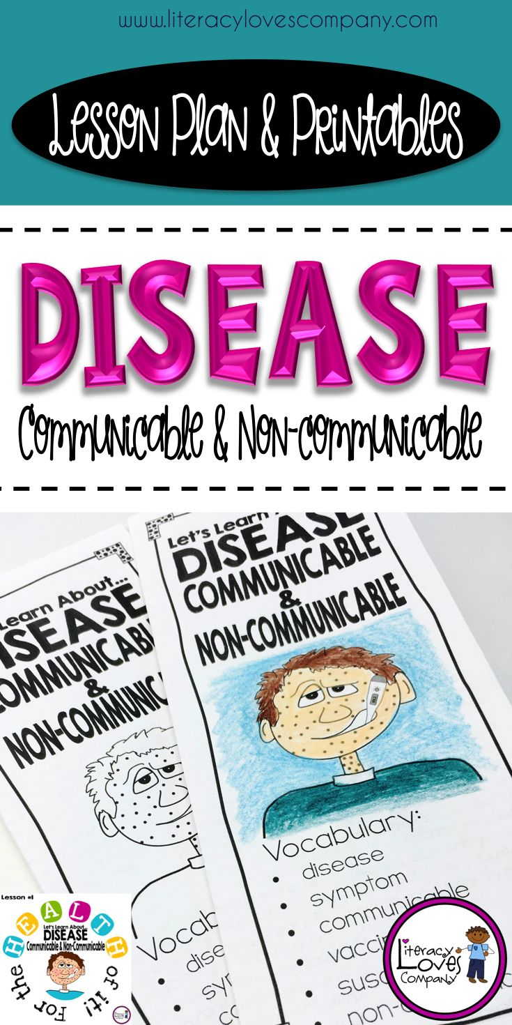 4th and 5th grade teachers...  A complete detailed lesson plan with opening activities, nonfiction text, and closing activity.  All printables included for an engaging health lesson on communicable and non-communicable diseases!  Already have a curriculum?  This printable brochure would be a great support activity in a literacy station or as homework!  ~Literacy Loves Company $