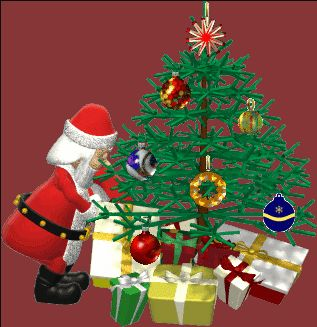 GIFs GIF GIFs Animated Animations Animation Images 3D: Santa Putting Presents Under Tree Animated GIF