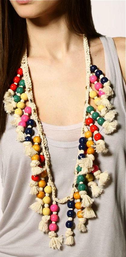Beaded macramé necklace @simone en voiture deckers @Brittany Loyer (Grams) Gregson !!!!