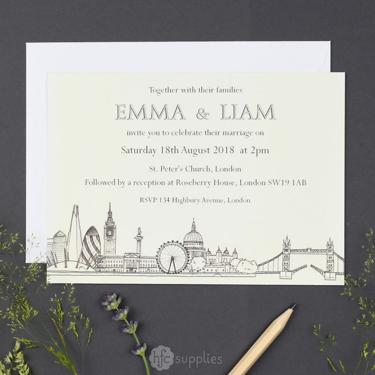 London Skyline wedding invitation design by hfcSupplies on Etsy. This design features my drawings of London landmarks. You can purchase it as either a printable file (for you to print yourself) or if you prefer to receive ready printed invitations, I also offer a print service. More coordinating stationery items are also available such as Save the Dates, thank you cards and Order of Services!   #londonweddinginvite #weddingstationery #weddinginvites #LondonWedding #weddinginvitation