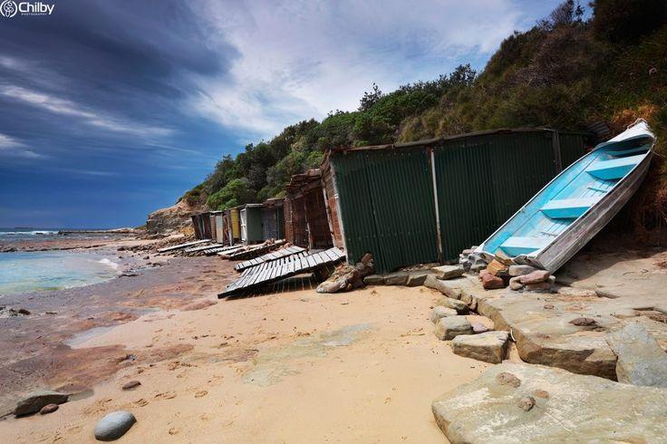 Sandon Point Boat Sheds at Bulli NSW.