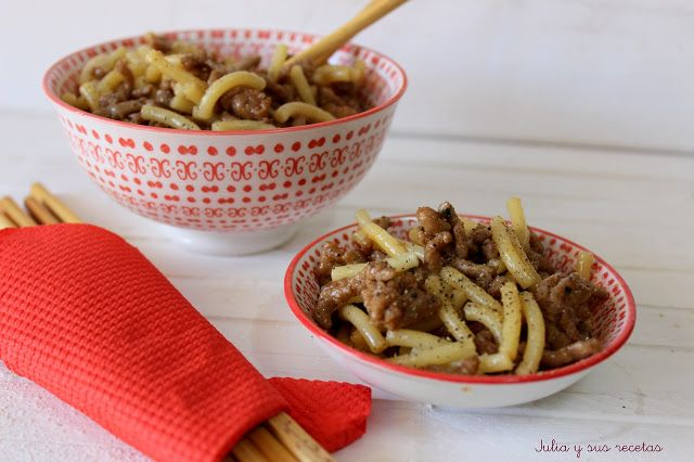 JULIA Y SUS RECETAS: Fideos con carne y salsa Teriyaki