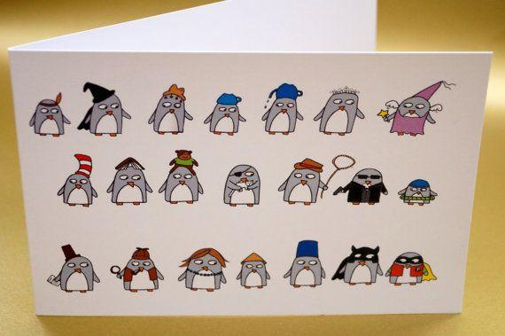 Funny Penguin Greeting Card   Birthday  Thank by penguinparadeshop