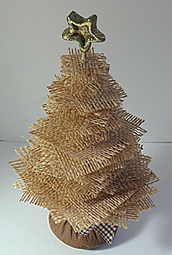 Mini Burlap Tree Decoration by wildabouttags on Etsy, $22.00