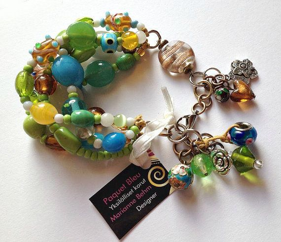 Colorful bohemian bracelet. Blue green yellow by PaquetBleu