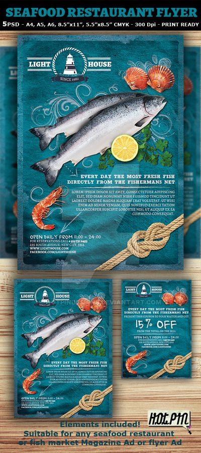 Seafood Restaurant Magazine Ad or Flyer Template and coupon is a modern and attractive psd template design suitable for any seafood restaurant, bar or Fish market. 5 PSD files - 5 sizes (A4, A5, A6...