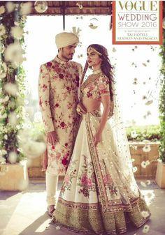 Indian Wedding Outfit Inspiration   Floral   Fresh   Spring Summer Wedding   Bride Lehenga   Groom Sherwani   Elegant Romantic Wedding   Sabyasachi Mukherji