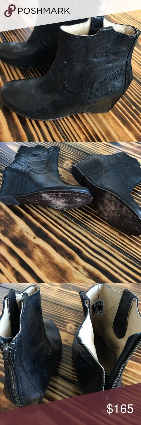 """FRYE """"CARSON"""" Wedge Bootie Boots EUC, they have leather soles so the damage is due to 2 wears. I actually purchased these brand new and I've worn them twice. There is no other notable scuffing or damage of any kind. 20% off any 2! Frye Shoes Ankle Boots & Booties"""