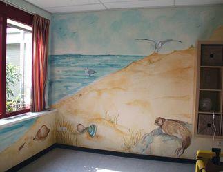Muurschildering strand