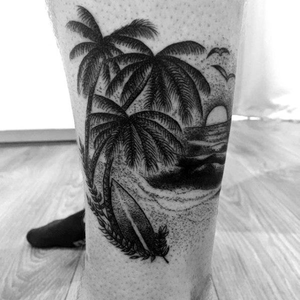 Guys Lower Legs Palm Trees Shore And Surf Tattoo                              …