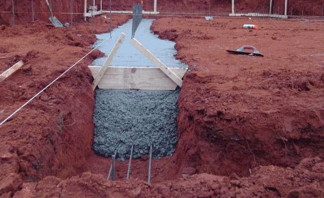 Concrete footings being poured