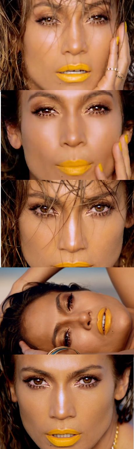 Jennifer Lopez Live it up music video makeup gold eyes & yellow lips