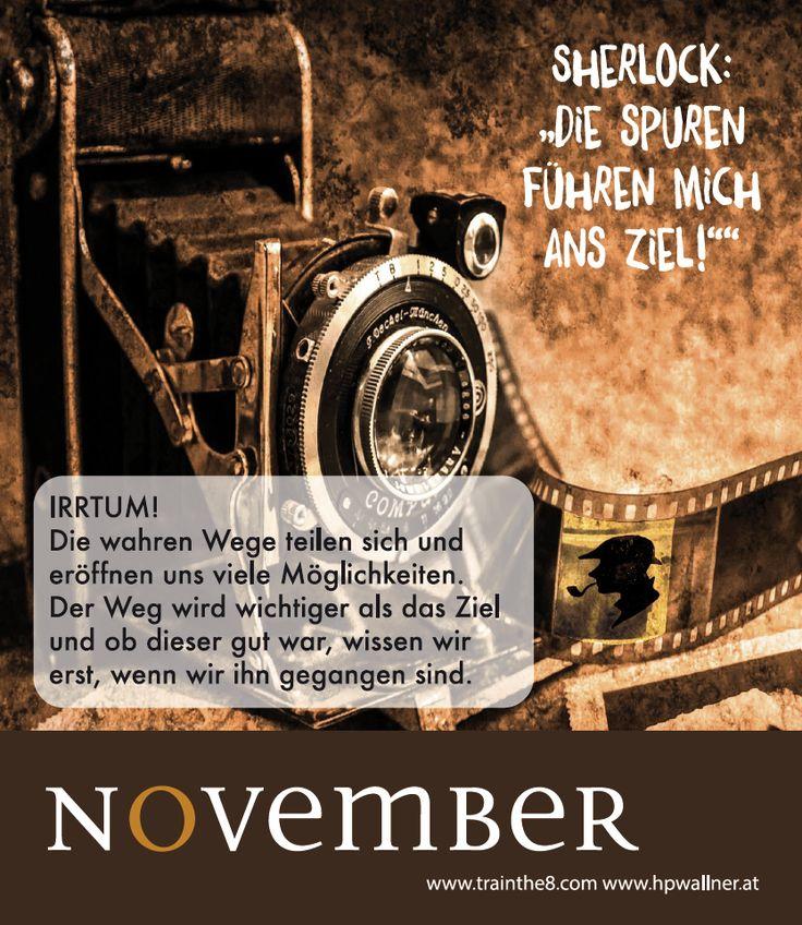 """Das neue Calendarium - """"I am Sherlocked"""": Wirkungsvoll in einer komplexen Welt - NOV: """"Wir erkennen alles immer erst im nachhinein"""" Quelle: Wallner & Schauer GmbH, Web: www.trainthe8.com Blog: www.hpwallner.at - Erhältlich auf AMAZON!"""