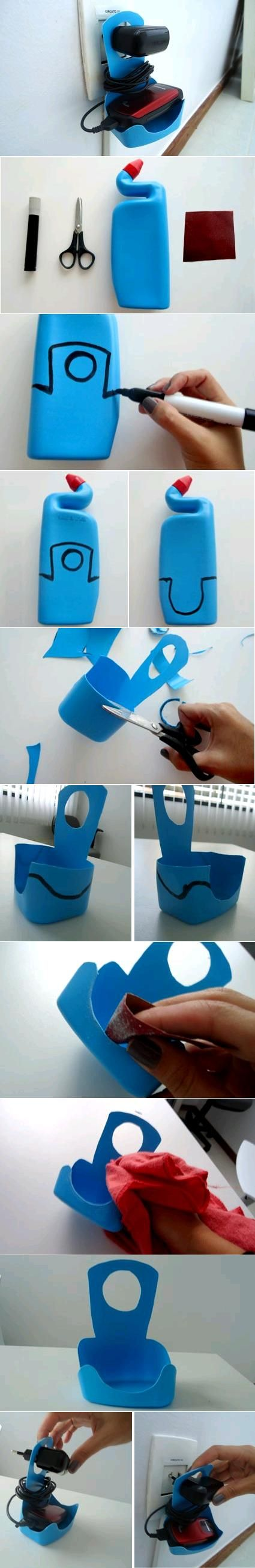 DIY Plastic Bottle Cell Phone Charger Holder | iCreativeIdeas.com LIKE Us on Facebook ==> https://www.facebook.com/icreativeideas