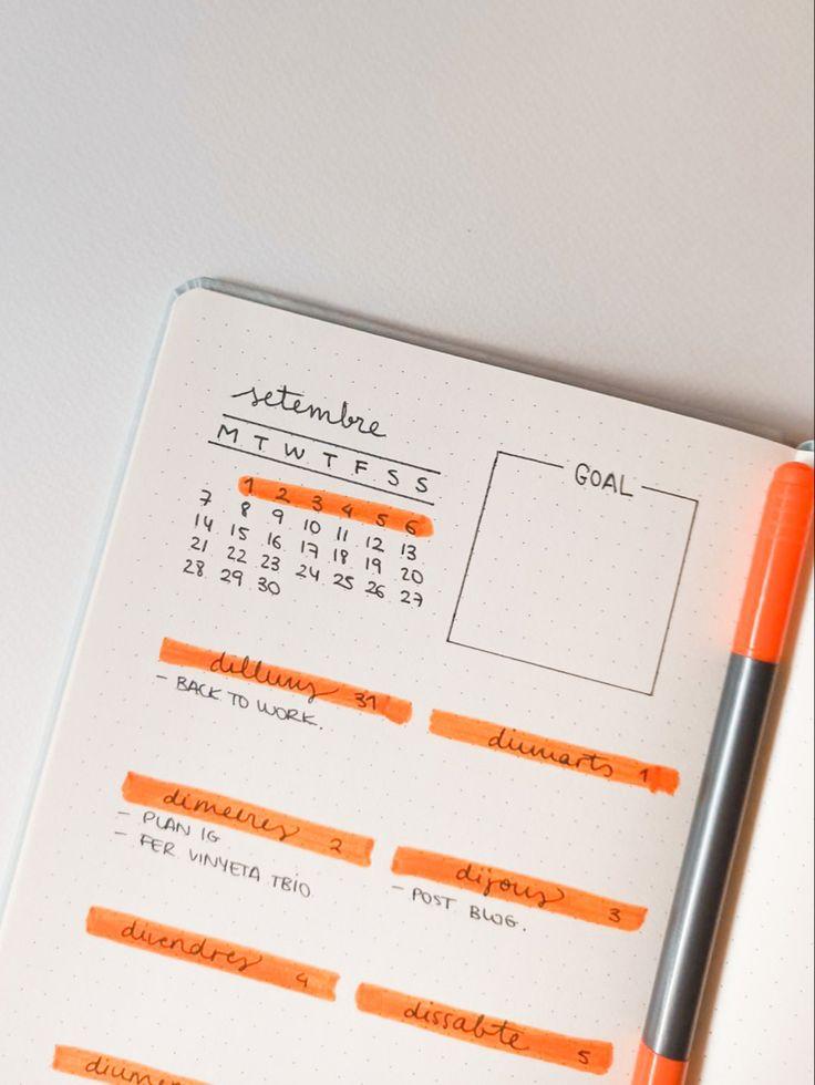 Ideas para principiantes para crear bullet journal - plantilla de color naranja Bullet Journal Inspo, Color Naranja, Ideas Para, Notebook, Apple, Mood, Create, How To Make, Yearly Calendar