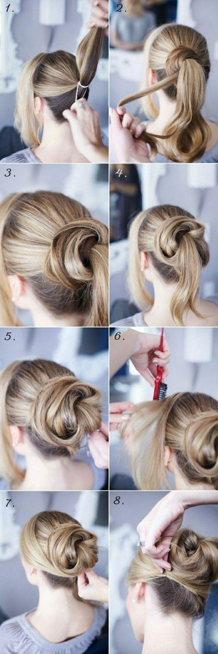 Une coiffure qui semble comme rose - cheveux blonds longs, une mèche à la coté, coiffures faciles
