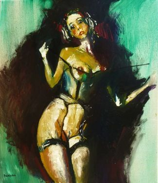 "Saatchi Art Artist GEORGE KARAFOTIAS; Painting, ""Model in stockings"" #art"